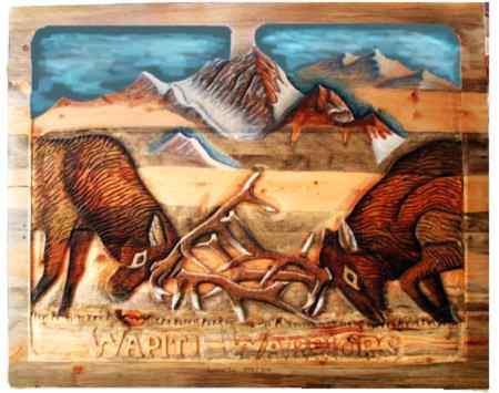 Wapiti Warriors carved headboard