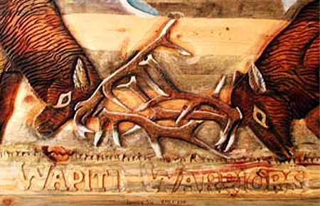 Closeup of the detail in the carving of Wapiti Warriors