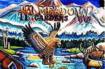 Hi Meadow Gardens sign with golden eagle and more.