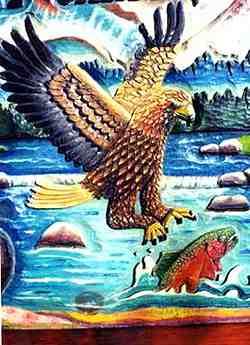 Closeup of eagle carving