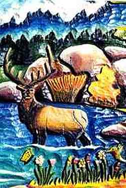 Closeup of elk carving