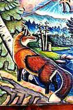 Closeup of fox carving